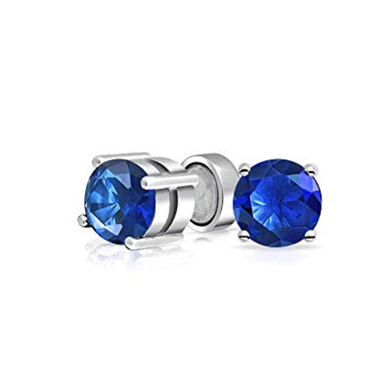 Earrings Magnetic with Blue Prong Set Cubic Zirconia 6mm Sold as a Pair
