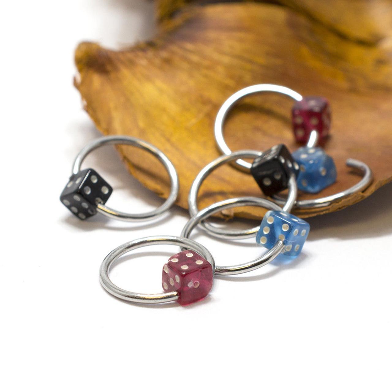Nipple Ring Septum 6pc Captive Bead Ring Acrylic Dice 18G Surgical Steel Jewelry