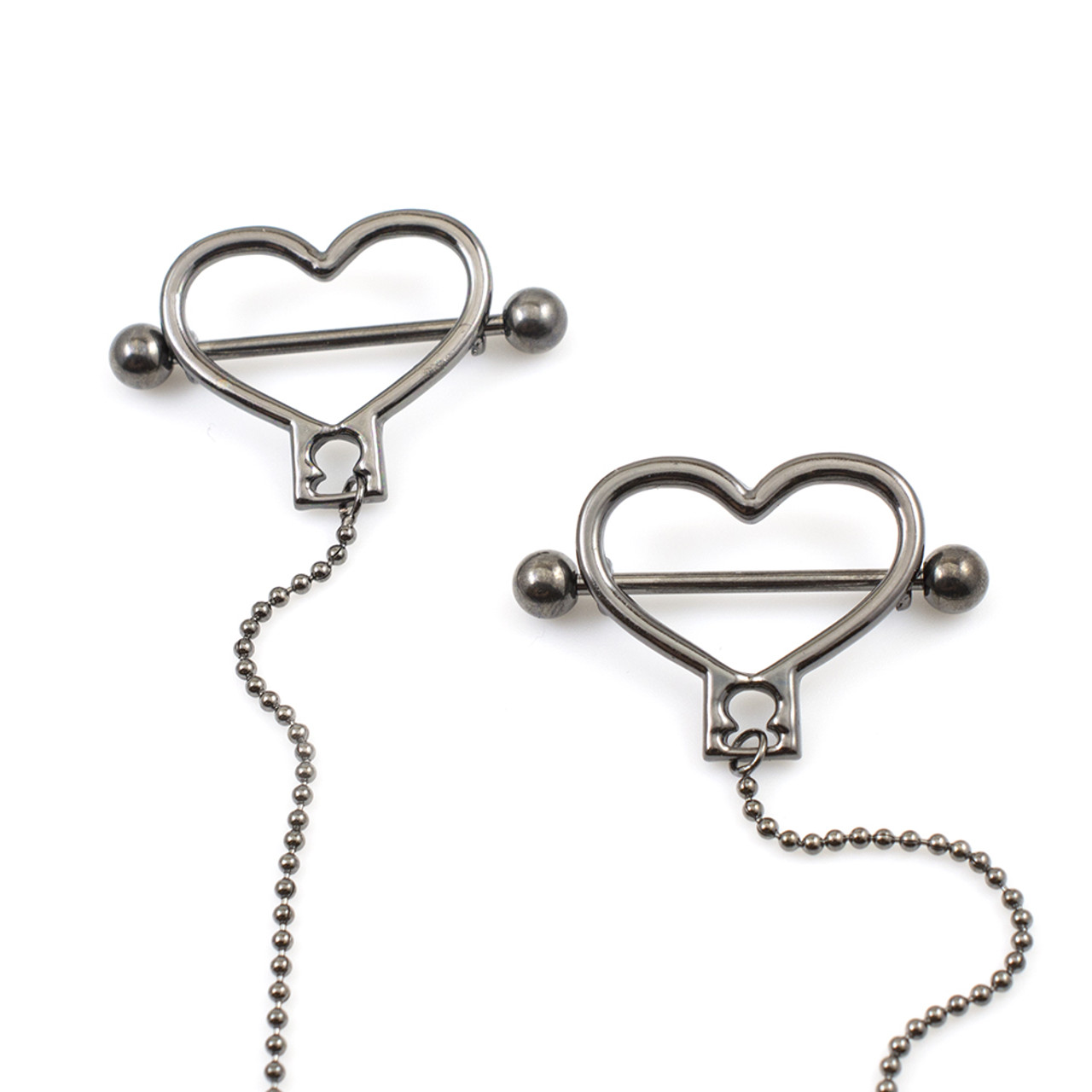 """Heart Shield Nipple Barbells with 18/"""" Ball Chain 316L Surgical Steel 14G"""