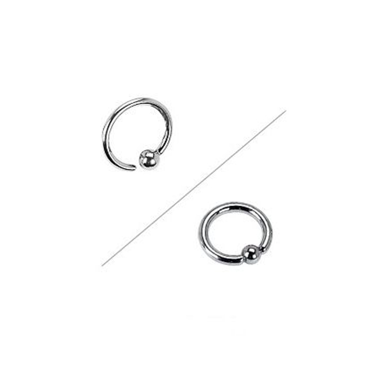 316L Surgical Steel One Side Fixed Captive Bead Ring