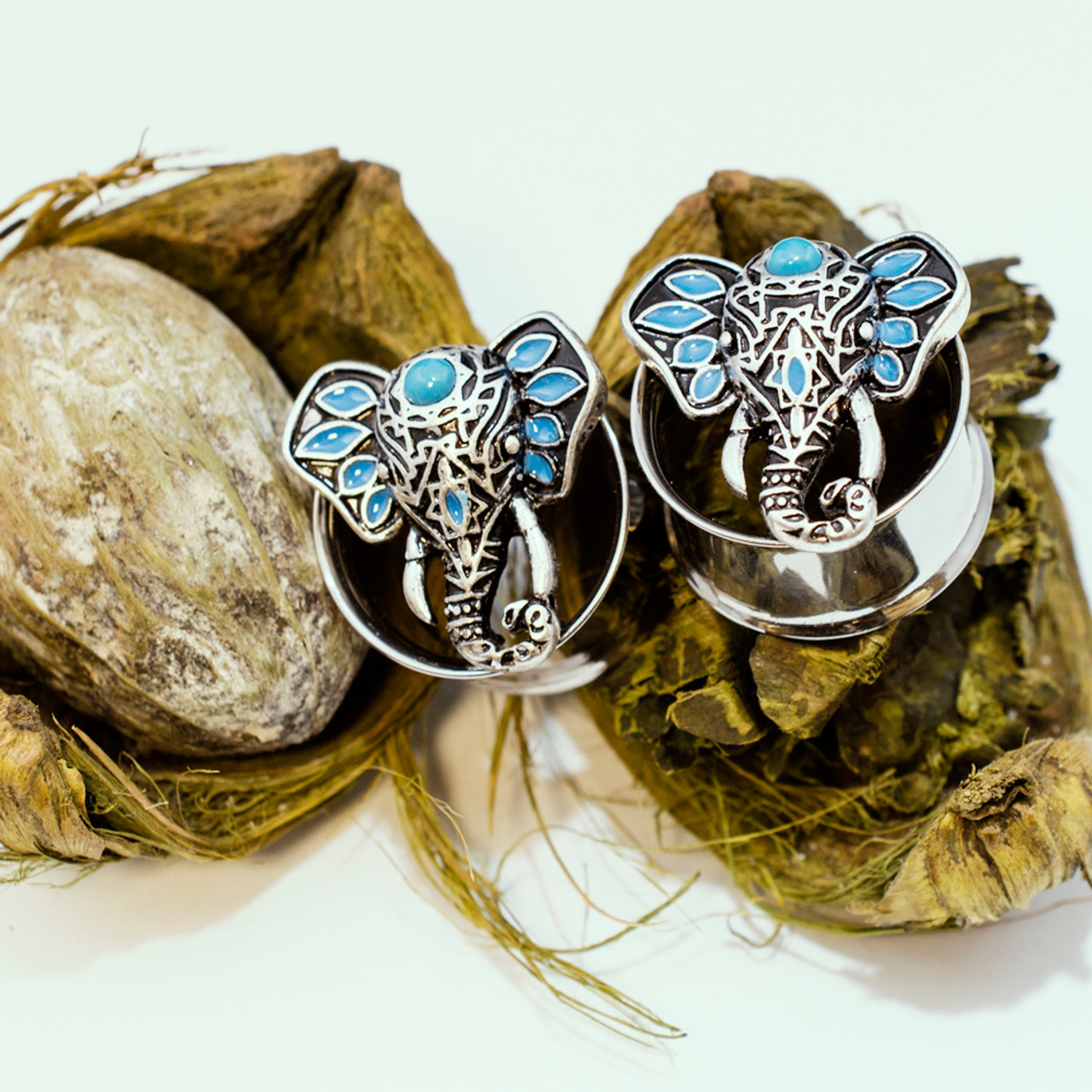 Ear Plugs Lucky Elephant Double Flare with Turquoise Embellishments