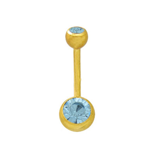 Belly Button Ring Surgical Steel with 14K Gold Plate and Jewels