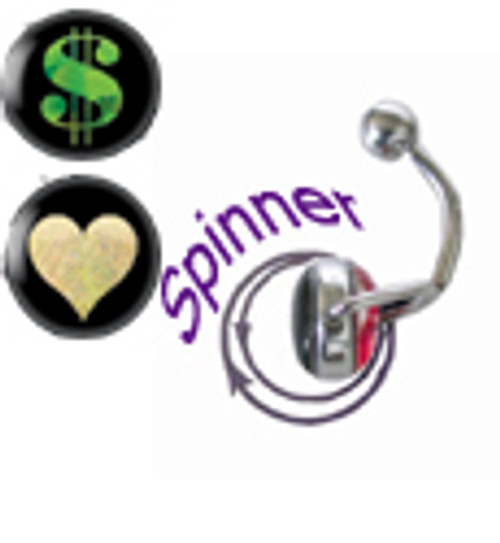 14G Belly Button Ring surgical steel with spinner and holographic design