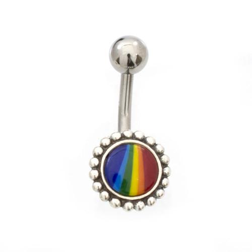 Flower Rainbow Logo Design Belly Button Ring 14ga Surgical Steel