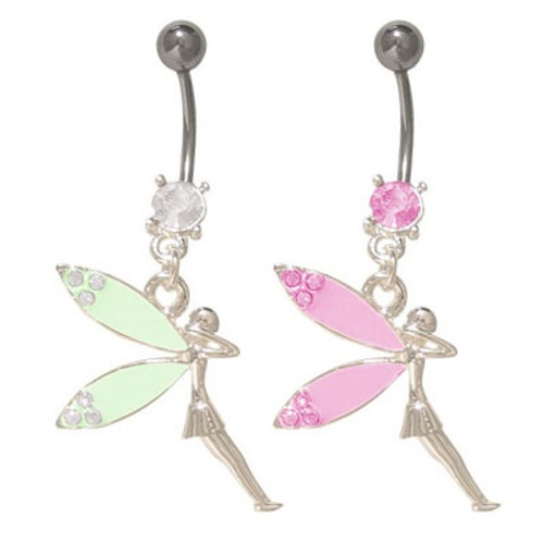 14 gauge Belly Button Ring Surgical Steel with Dangling Fairy and Jewels