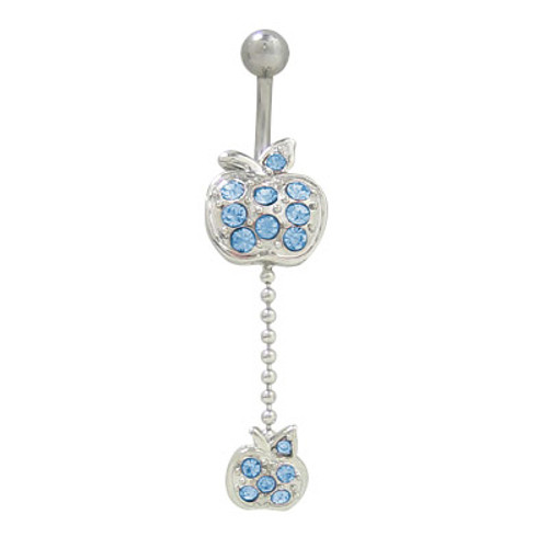 (14G) Belly Button Ring Surgical Steel with Dangling Apple Design