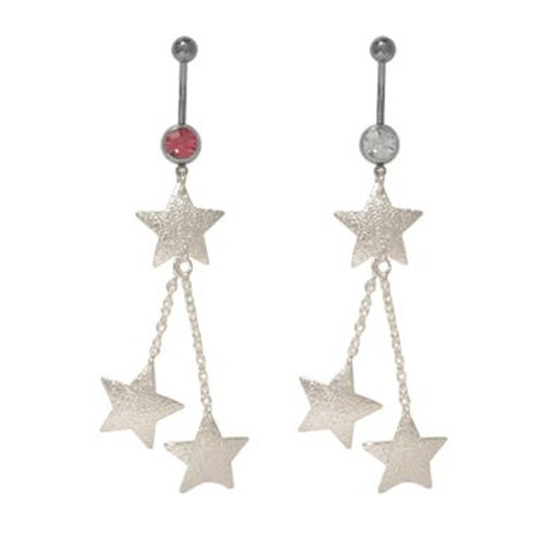 (14 gauge) Belly Button Ring Surgical Steel with Dangling Stars