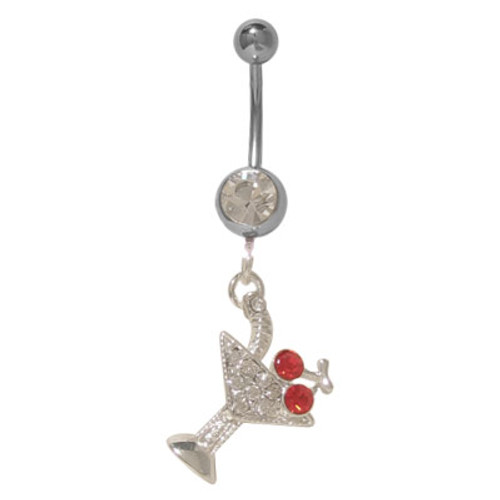 (14 gauge) Belly Button Ring Surgical Steel with Dangling Martini Glass