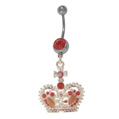 (14 gauge) Belly Button Ring Surgical Steel with Dangling Crown
