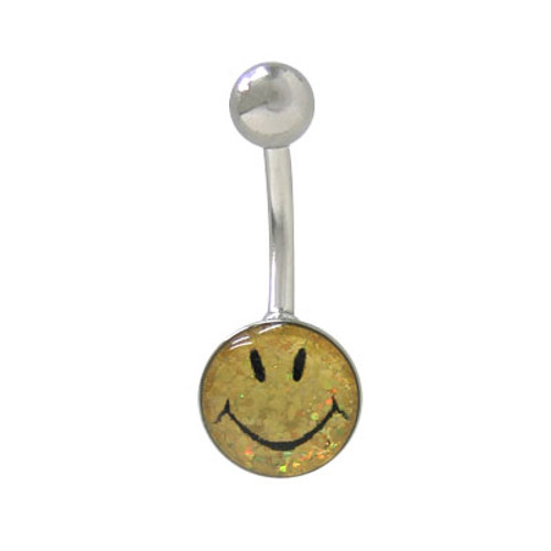 Belly Button Ring 14G Surgical Steel with Holographic Smiley Face