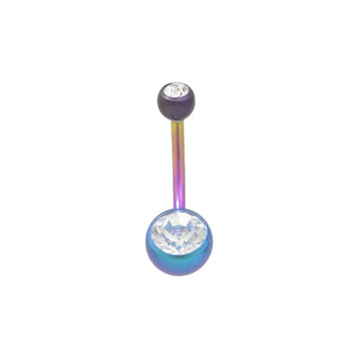 Multi Color Solid Titanium 14g Belly Button Ring with Double Jewel