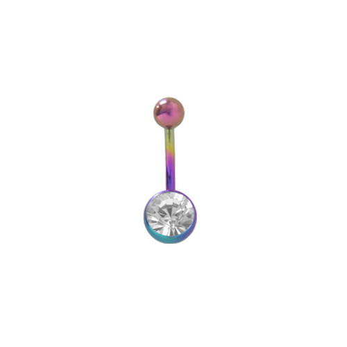 Titanium 14g Belly Button Ring with Clear Jewel