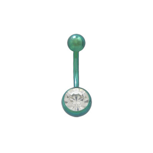 Belly Button Ring Green Solid Titanium with Jewel 14ga