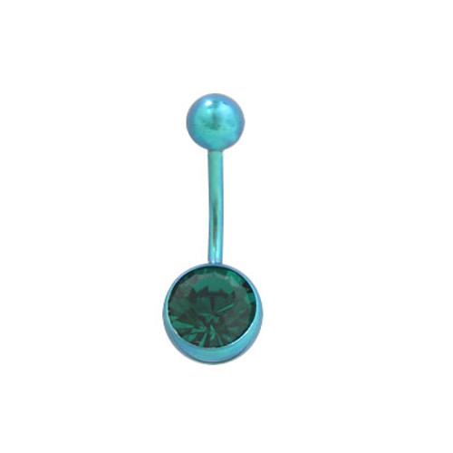 Green Titanium 14 gauge Belly Ring with Matching Jewel