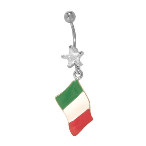 14 gauge Belly Button Ring with Dangling Italian Flag