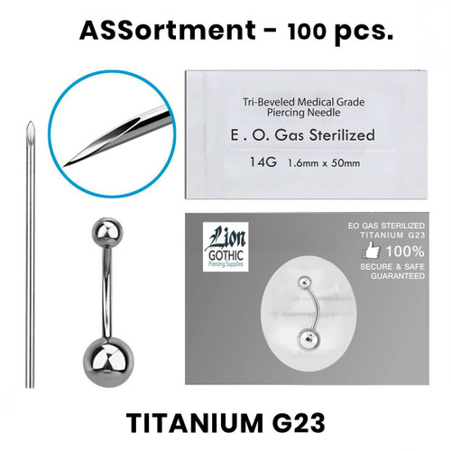Belly Ring Piercing Kit containing 100 pcs of Titanium G23 14 Gauge 13 Gauge
