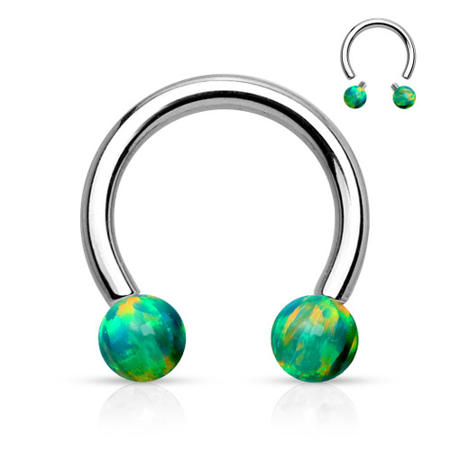 Circular Barbell Synthetic Opal Internally Threaded Horseshoe Surgical Steel  4 Color Options
