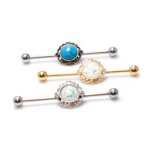 Filigree Industrial 14ga Piercing Barbell with Opalite Glitter Center Sold Each