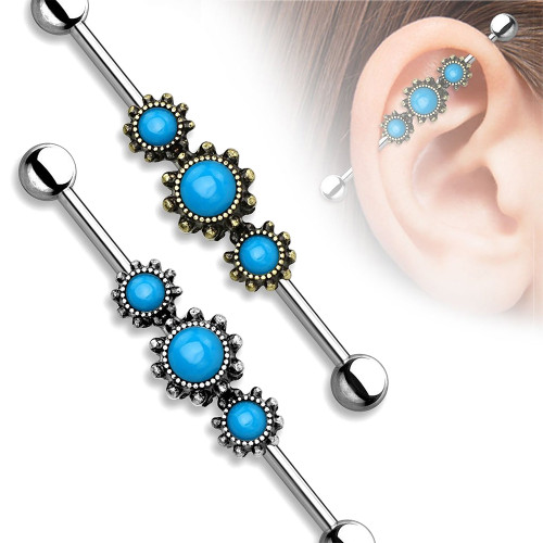 Industrial Piercing 14ga Barbell with Triple Round Turquoise Centers