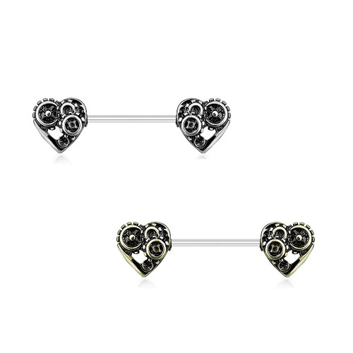 Pair of Nipple Rings 14G Heart Steampunk Design Surgical Steel Antique Color Finish