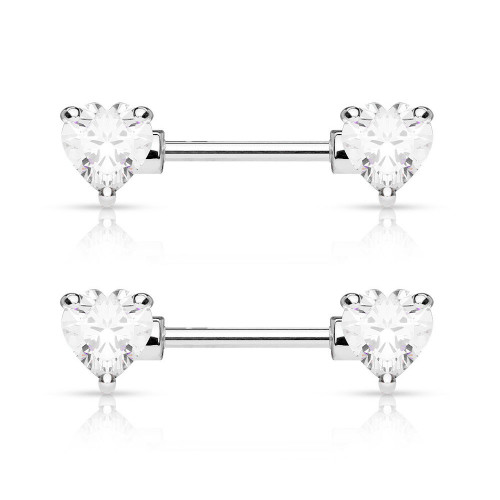 Pair of Nipple Barbells 14G Surgical Steel with Heart Shaped Prong Set CZ Gems