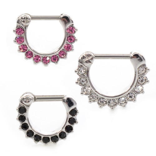 Clicker Septum Prong Set Clear,Pink ,Black Jewel Nose Ring 14 gauge 10mm 3/8""