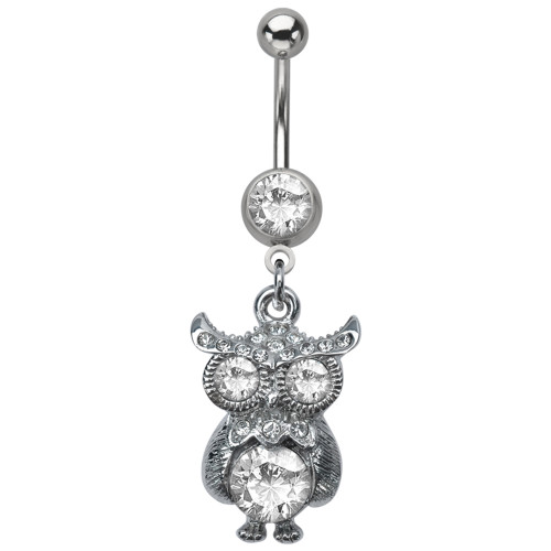 Dangling Owl Design 14ga Navel Ring with CZ Gems
