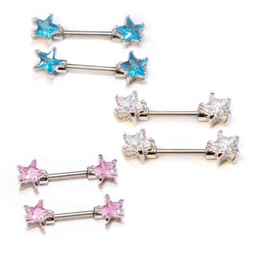 Pair of Nipple Barbells 14G Surgical Steel with Star Shape Prong Set CZ Gems
