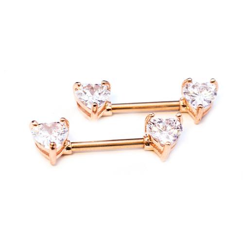 Pair of Nipple Barbells 14G Surgical Steel Rose Gold IP Heart Gems