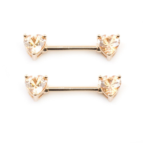 Pair of  Champagne CZ Heart Nipple Barbells 14ga 9/16