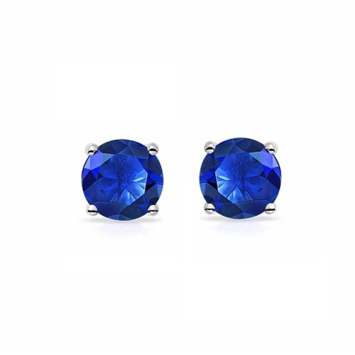 Pair of Blue Prong Set Cubic Zirconia Magnetic Earrings 6mm