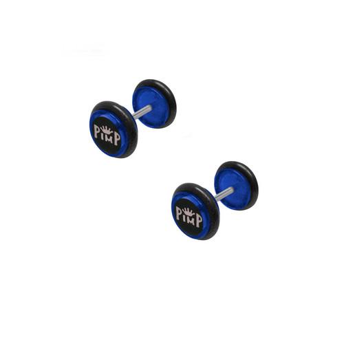 Blue Acrylic 16 Gauge Pimp Logo Ear Plug
