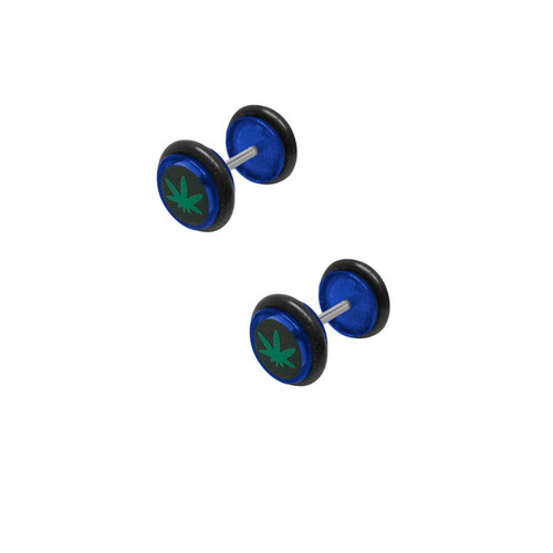 16 gauge Acrylic Pot Leaf Ear Plug