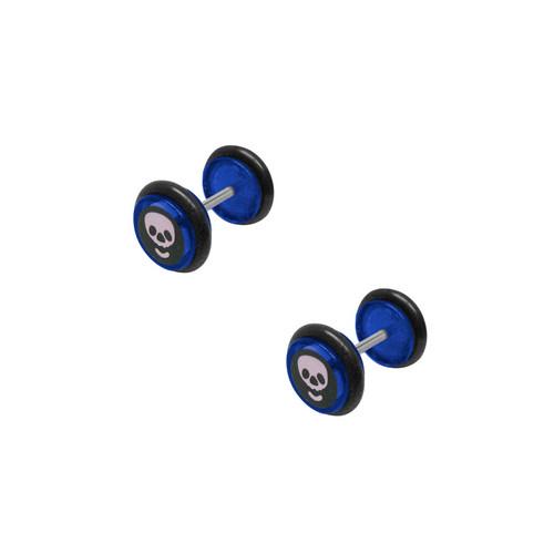 Blue Acrylic 16 Gauge Skull Logo Ear Plug