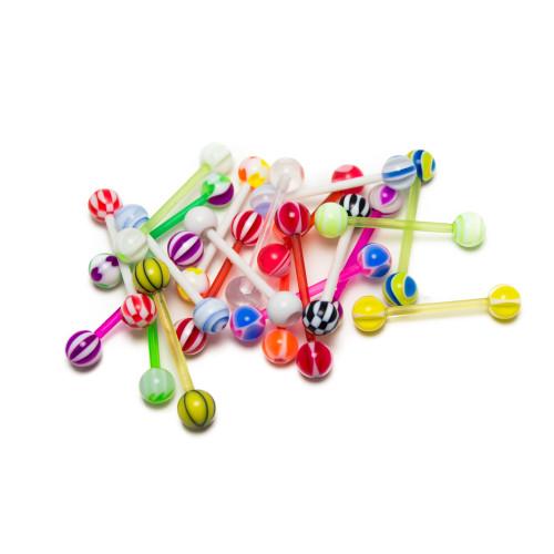 Tongue/Nipple Piercing Jewelry 20 Pcs. Value Pack - No Duplicates