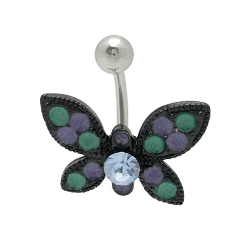 Acrylic Black Butterfly 14g Belly Ring