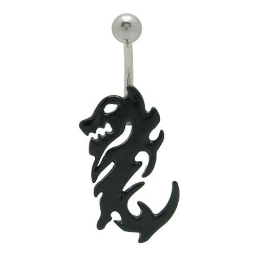14 gauge Black Chinese Dragon navel ring