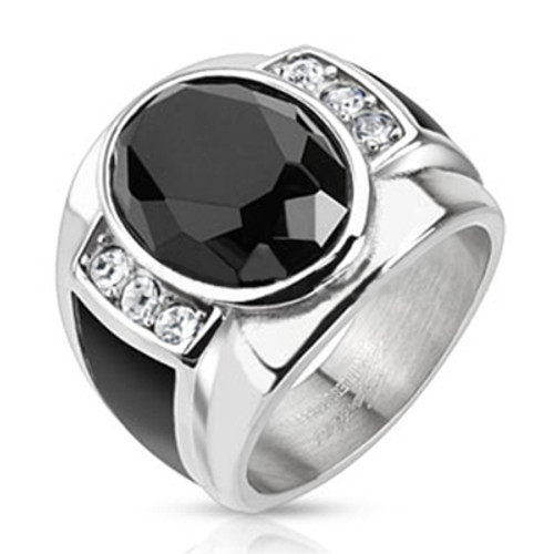 Stainless Steel Diamond Cut Onyx Stone Ring