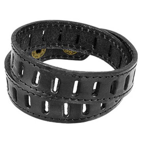 Black Leather Double Wrap Bracelet