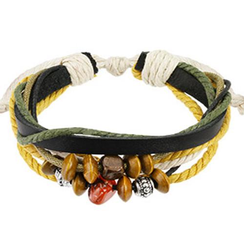 Black Leather Two Tone Braided Bracelet
