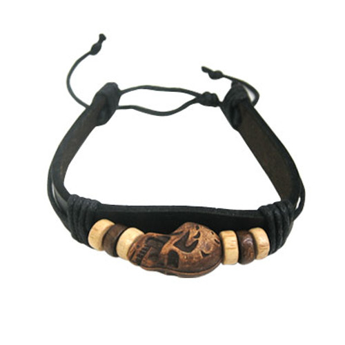 Leather Bracelet with Brown Skull and Black Rope