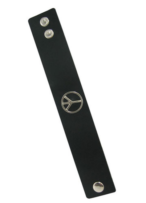 Black Leather Bracelet with Peace Sign