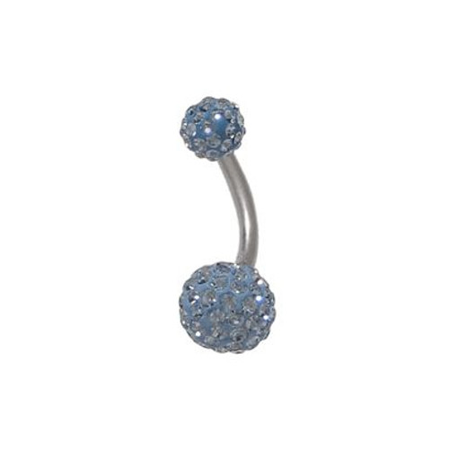 Blue Swarovski Crystal Ferido 14 gauge Belly Button Ring
