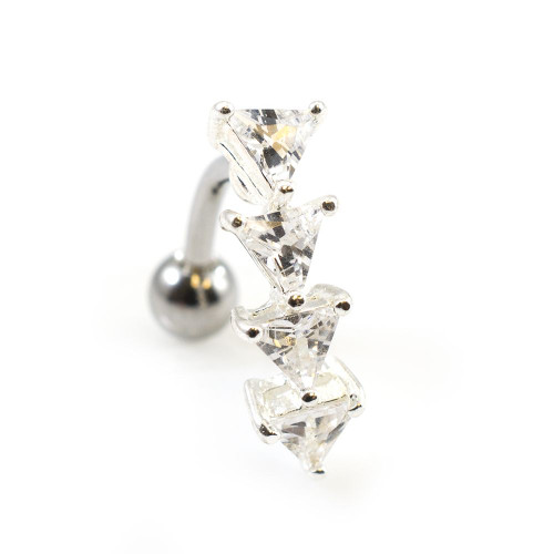 Reverse Belly Button Ring with Prong Setting Triangle Cubic Zirconia Gems 14ga