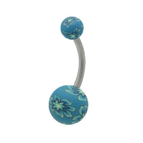14 gauge Fimo Beads Blue Flower Design Belly Ring
