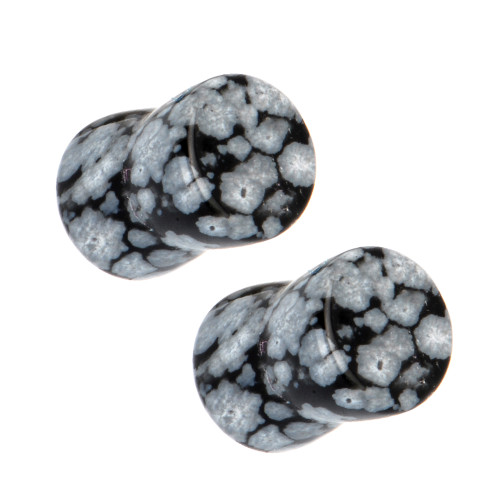 Pair of Snowflake Obsidian Semi-Precious Saddle-Fit Plugs (8 gauge to 00 gauge)