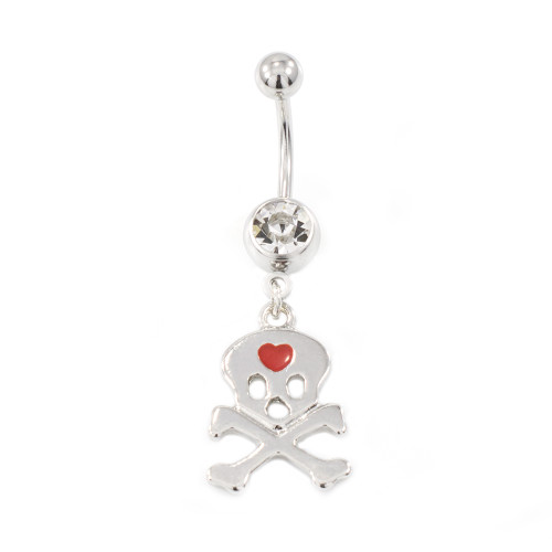 Skull and Heart Design Belly Button Ring 14g