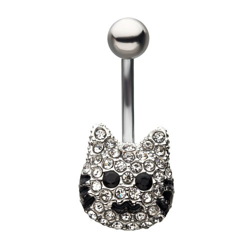 Clear and Black CZ Feature Cat Head Fixed Belly Button Ring 14ga