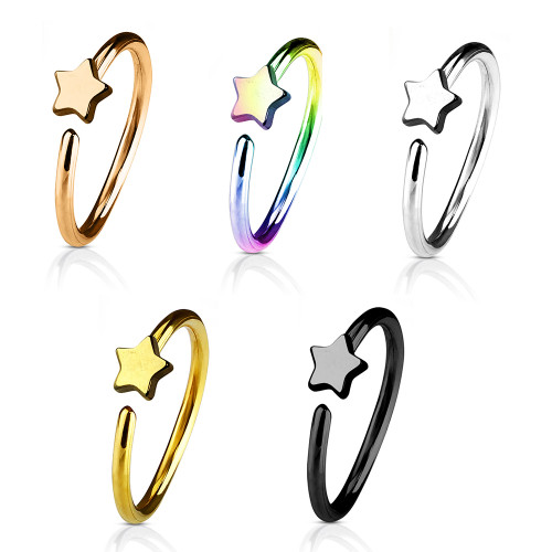 Nose & Cartilage 20G Hoop Ring Star Charm Anodized Surgical Steel