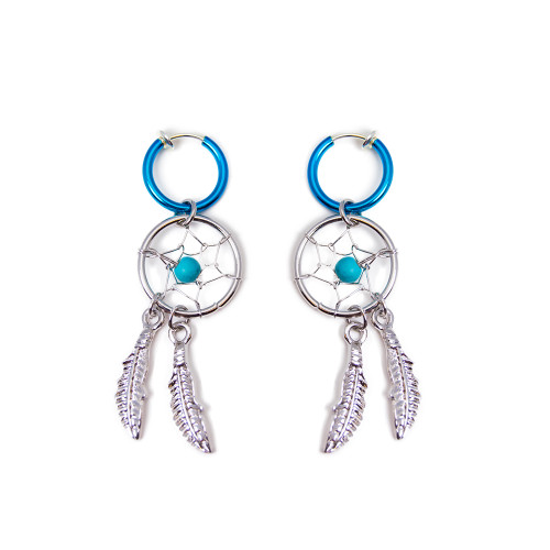 Dreamcatcher Dangle Non-piercing Earrings - Sold As a Pair - Great for All Ages